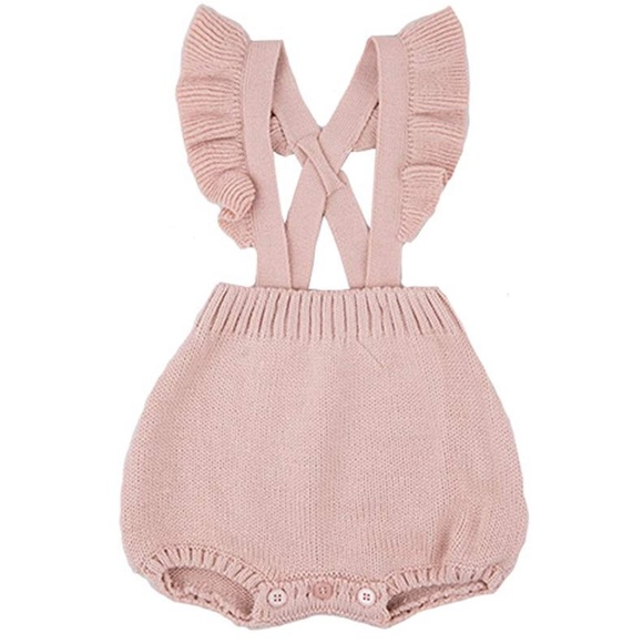 Other - Knitted Ruffle Cute Romper Cross Bandage Jumpsuit